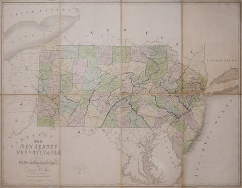 David H. Burr (1803-1875),  Map of New Jersey and Pennsylvania exhibiting the past offices, past roads, canals, railroads etc.