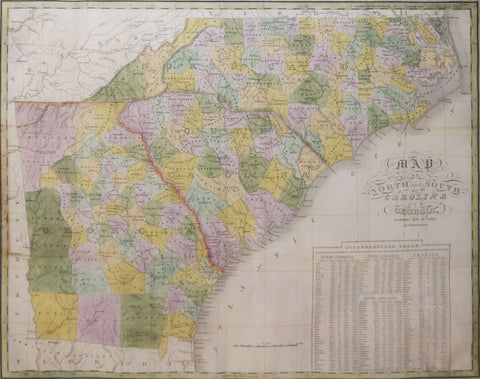 Anthony Finley (ca. 1790-1840), Map of North and South Carolina and Georgia