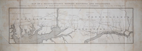 U. S. Government, Map of Reconnaissance Between Baltimore and Philadelphia
