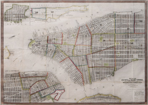 John M. Atwood (Fl. 1840-1865),  Map of the City of New York with adjacent cities of Brooklyn and Jersey City and the Village of Williamsburg