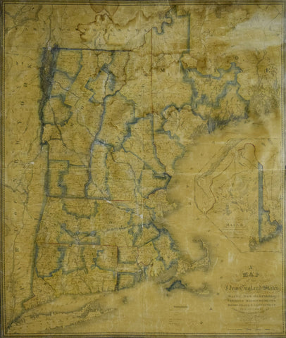 Nathan Hale (1784-1863),  A Map of the New England States, Maine, New Hampshire,  Vermont, Massachusetts, Rhode Island, Connecticut With the adjoining parts of New York & Lower Canada