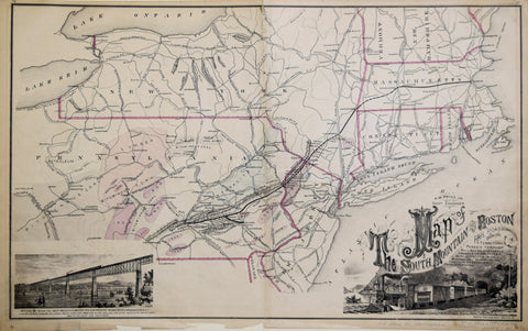 Reading Publishing House, Map of the South Mountain and Boston Railroad and Connections...