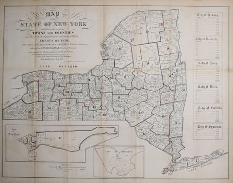 George Hayward, Map of the State of New York..Together with the Population as determined by the Census of 1850
