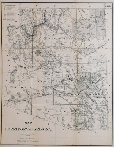 United States General Land Office, Map of the Territory of Arizona, 1886