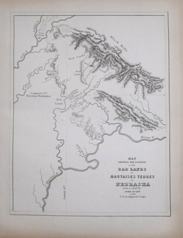 John Evans (1814-1897), Map Showing the Position of the Bad Lands of Mauvaises Terres of Nebraska