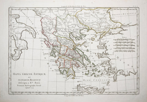 Rigobert Bonne (French, 1727-1795), Mappa Greciae Antiquae et vicinarum regionum