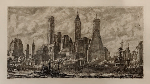 Reginald Marsh (American, 1898–1954), Skyline from Pier 10 Brooklyn