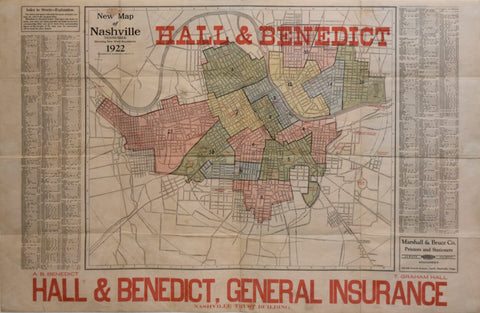 Marshall & Bruce Co., New Map of Nashville, Tennessee, Showing New Ward Boundaries, 1922
