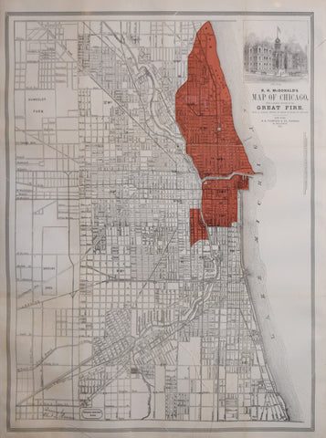 R.H. McDonald,  Map of Chicago, with a Correct Outline of the Great Fire, from a careful survey by Sharp and Thain of Chicago