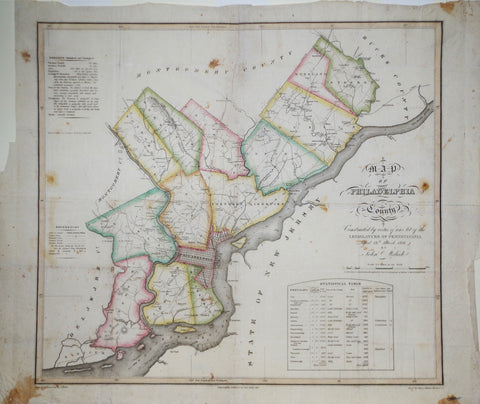 John Melish (1771-1822), Map of Philadelphia County...