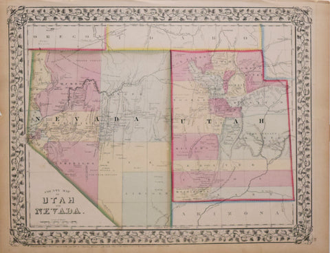 Samuel Augustus Mitchell (1790-1868), County Map of Utah and Nevada