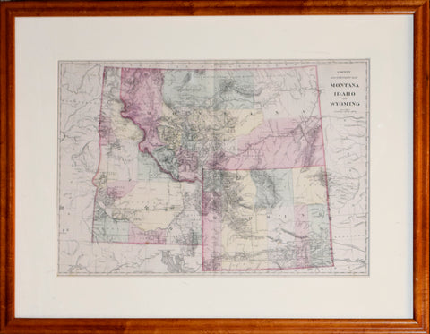 Samuel Augustus Mitchell Jr, County and Township Map Montana, Idaho, and Wyoming