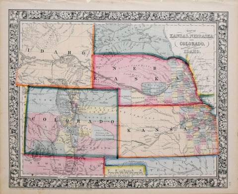 Samuel Augustus Mitchell (1790-1868), Map of Kansas, Nebraska and Colorado