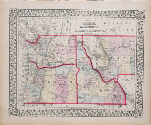 Samuel Augustus Mitchell (1790-1868), Map of Oregon, Washington, Idaho, and part of Montana