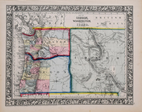 Samuel Augustus Mitchell (1790-1868), Map of Oregon, Washington and Part of Idaho