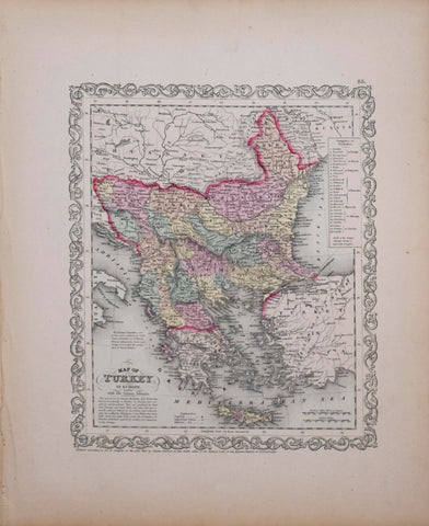 Samuel Augustus Mitchell (1790-1868), Map of Turkey in Europe with the Ionian Islands