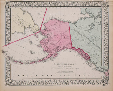 Samuel Augustus Mitchell (1790-1868), North Western America showing the territory ceded by Russia to the United States. (Alaska)
