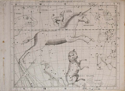 John Flamsteed (1646-1719), Monoceros, Canis Major & Minor, Navis, Lepus