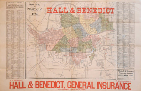 A.B. Benedict & T. Graham Hall, New Map of Nashville Tennessee..1922