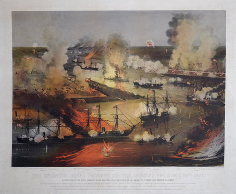 Nathaniel Currier (1813-1888) & James Ives (1824-1895), The Splendid Naval Triumph on the Mississippi, April 24th, 1862: Destruction of the Rebel Gunboats, Rams, and Iron Clad Batteries by the Union Fleet under Flag Officer Farragut