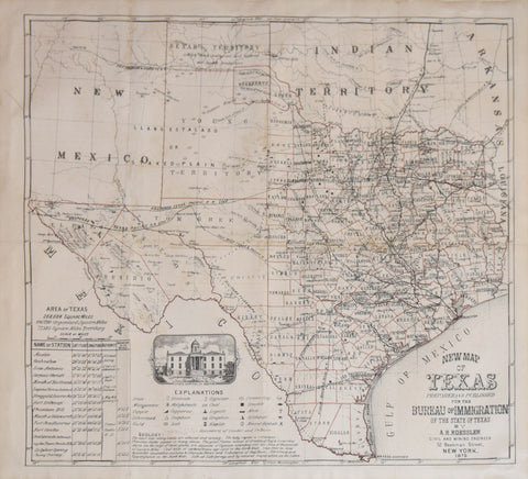 New Map Of Texas.Anton Roessler New Map Of Texas