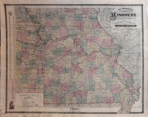 George F. Cram (American, 1841-1928), New Sectional Map of Missouri…