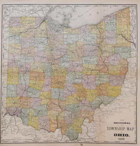 Rand Mcnally Co New Sectional And Township Map Of Ohio 1888