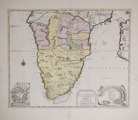 Ottens, R. (Reinier),1698-1750; Ottens, J. (Josua), 1704-1765,   Nieuwe Caarte van Kaap de Goede Hoop en't Zuyderdeel van Africa { with two inset views of the fortifications and bay of Good Hope]