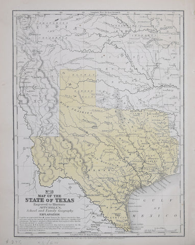 Samuel Augustus Mitchell (1792-1868), No. 13 Map of the State of Texas Engraved to Illustrate Mitchell's School and Family of Geography