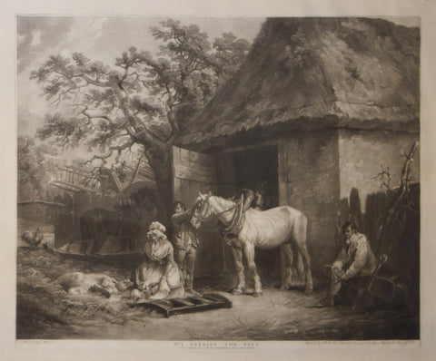 George Morland (1763-1804), after, Feeding the Pigs