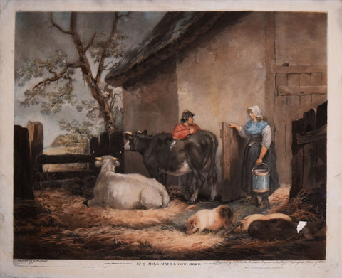 George Morland (1763-1804) after, No. 9 Milk Maid and Cow Herd