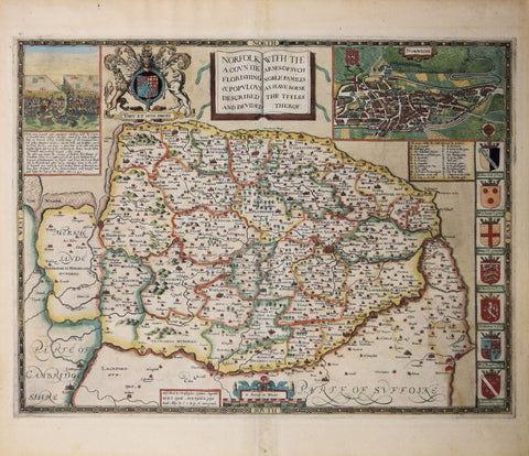 John Speede (1552-1629,)  Norfolk a Countie Flourishing & Populous Described and Divided with the Armes of such Noble Familes…