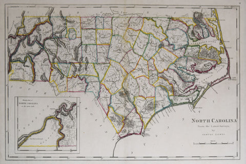 Mathew Carey (1760-1839), North Carolina from the Latest Surveys by Samuel Lewis