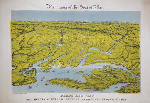 John Bachmann (1814-1896), Panorama of the Seat of war: Bird's Eye View of Virginia, Maryland Delaware and the District of Columbia