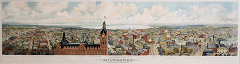 Gugler Lithographic Company, Panoramic View of Milwaukee Wis. Taken From City Hall Tower