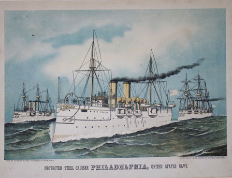Nathaniel Currier (1813-1888) & James Ives (1824-1895), Protected Steel Cruiser Philadelphia, United States Navy