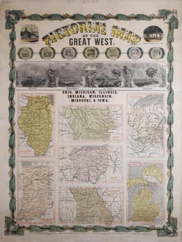 Ensign and Thayer, Pictorial Map of the Great West