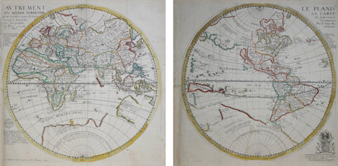 Du Val,Pierre (French, 1618-1683),  Le Planisphere Autrement Le Carte Du Monde Terrestre...[In Two Parts]