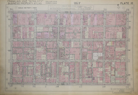 Franklin Survey Company, Plate 10 (S 13th St and Spruce St to S 8th St and Chestnut St)