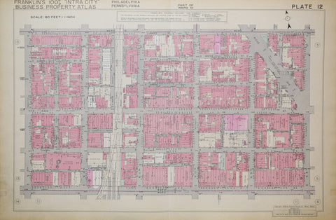 Franklin Survey Company, Plate 12 (N 13th St and Vine St to N 8th St and Arch St)