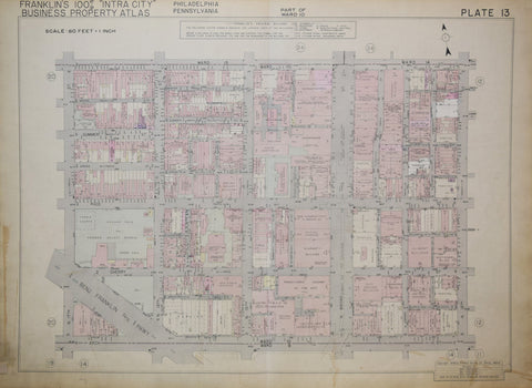 Franklin Survey Company, Plate 13 (N 17th St and Vine St to Arch St and N 13th St)