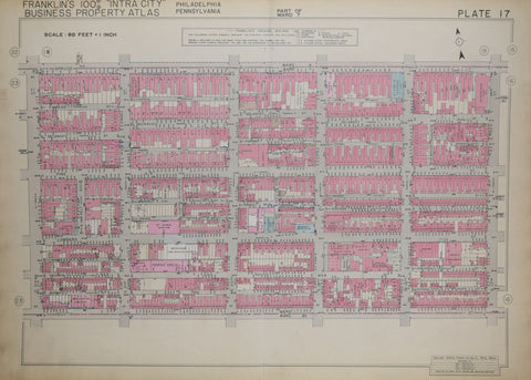 Franklin Survey Company, Plate 17 (S 22nd St and Spruce St to South St and S 17th St)