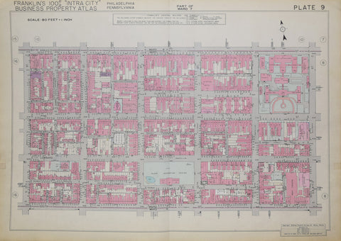 Franklin Survey Company, Plate 9 (S 13th St and Spruce St to South St and S 8th St)