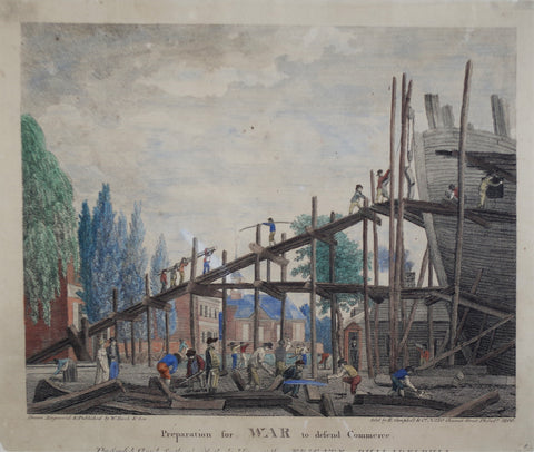 William Birch (1755-1834),  Preparation for War to Defend Commerce