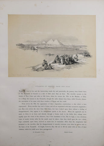 David Roberts (1796-1864), Pyramids of Geezeh From the Nile