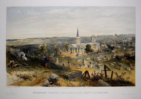 William Simpson (1823-1899), Illustrator, Quarantine Cemetery and Church with French Battery No 50