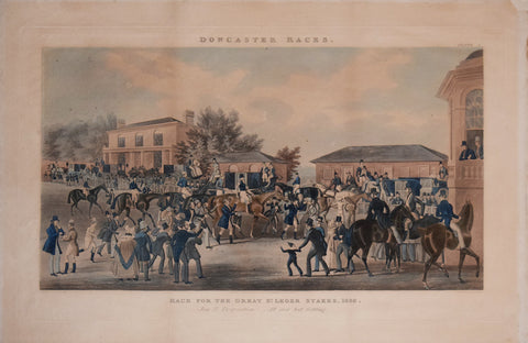 James Pollard (1792-1867), after,  Doncaster Races: Race for the Great St. Leger Stakes, 1836- Joy and Desperation! All Over but Settling. Plate 4