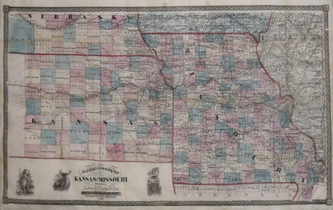 George F. Cram (1842-1928), New Railroad & Township Map of Kansas and Missouri