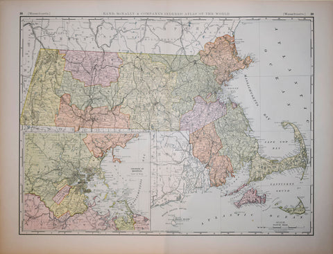 Rand McNally and Company, Massachusetts (with inset map of Boston)