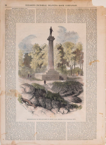 Gleason's Drawing Room Companion, Representation of the Monument to Henry Clay, erected at  Pottsville, Penn.